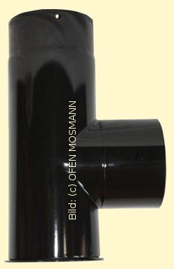 Ofenrohr DN 130 mm schwarz glänzend emailliert Kapselknie 0,33 m Länge hq