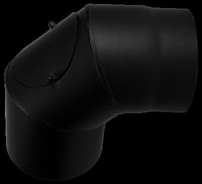 Ofenrohr Kaminofen DN 200 mm Bogen 90° mit Tür schwarz #310