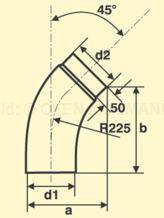 Bogen 45° glatt emailliert Skizze