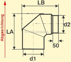 Ofenrohr Maßskizze Bogen ohne Tür