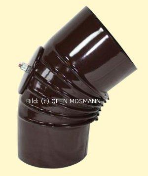 Ofenrohr DN 120 mm braun emailliert Bogen gerippt 45° mit Tür hq