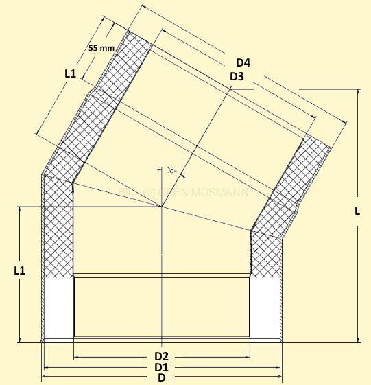 Primus Ofenrohrbogen 30° Maßskizze