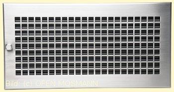 Lüftungsgitter Edelstahl matt 45x23 cm D3-Design Warmluftgitter Lamellen schwarz verstellbar CB-Tec