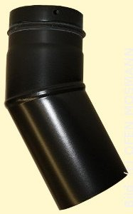 Ofenrohr für Pelletofen DN 100 mm Bogen Knie 30 Grad ohne Tür mattschwarz emailliert