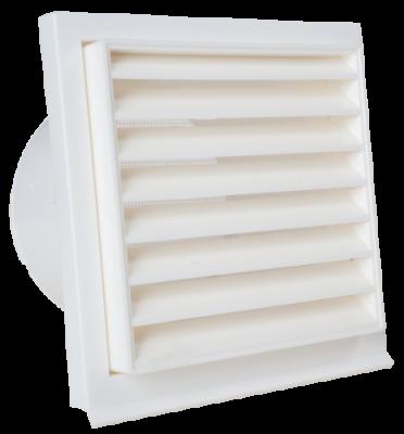 Außenluftgitter weiß 14 x 14 cm Kunststoff mit Stutzen DN 100 mm und Insektenschutz