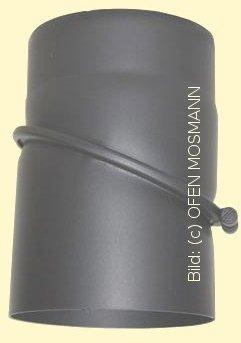Ofenrohr Kaminofen DN 150 mm Bogen Winkel 0-45° ohne Tür gussgrau hell #820