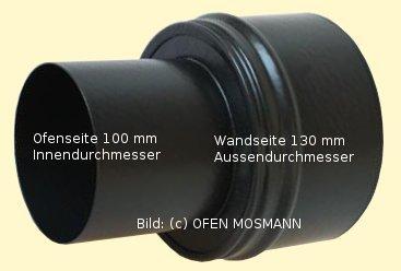 Ofenrohr für Pelletofen Erweiterung von DN 100 auf 130 mm mattschwarz emailliert
