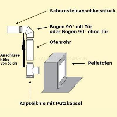 Set 4aK Pellet DN 100 mm grau Anschlusshöhe 53 cm