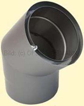 Doppelwandiges Ofenrohr Isoline DN 150 mm Bogen 45° ohne Tür gussgrau #288