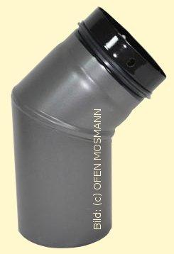 Ofenrohr für Pelletofen DN 125 mm Bogen 45 Grad ohne Tür grau emailliert