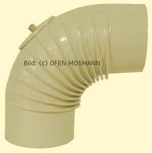 Ofenrohr DN 130 mm beige emailliert Bogen gerippt 90° mit Tür hq