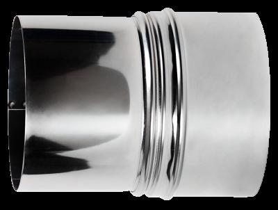 Erweiterung für Ofenrohre aus Edelstahl von DN 120 auf 130 mm
