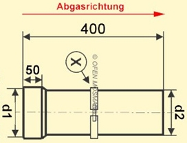 Maßskizze Ofenrohr Anschlussstutzen