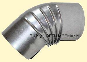 Ofenrohre DN 140 mm FAL Ofenrohr Bogen gerippt 45° ohne Tür