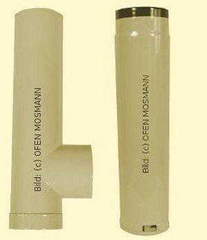 Ofenrohr DN 120 mm beige emailliert Kapsel+ Ofenrohr verstellbar von 0,50 m bis 0,70 m
