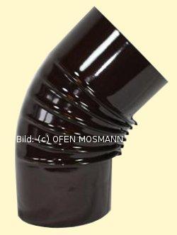 Ofenrohr DN 130 mm braun emailliert Bogen gerippt 45° ohne Tür hq