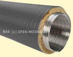 Aluflexrohr isoliert DN 50 mm, Länge 0,80 m, 5-lagig, grau beschichtet