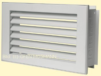 Lüftungsgitter Kaltluft 23 x 23 cm weiß putzbündig Lamellen feststehend Marke CB-tec