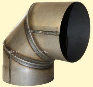 Ofenrohr DN 250 mm Bogen Knie 90° ohne Tür 2 mm Stahl gemufft unlackiert