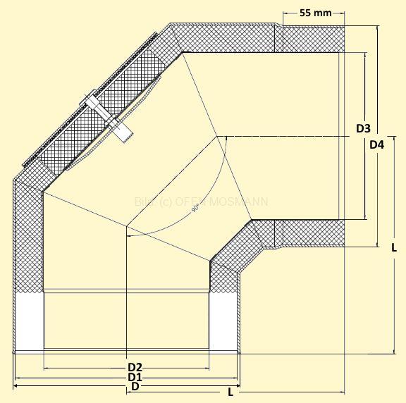 Primus Ofenrohrbogen 90° mit Tür Maßskizze