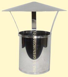 Ofenrohr aus Edelstahl DN 150 mm Längenelement 0,25 m mit Regenhut