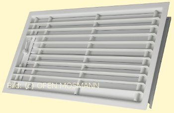 CB Deckengitter weiß 35 cm x 23 cm Lamellen verstellbar. Lüftungsgitter für Ofen Kamin. Marke CB-tec