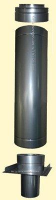 Kaminerhöhung Edelstahl DN 130 mm Höhe ca. 0,30 m doppelwandig matt