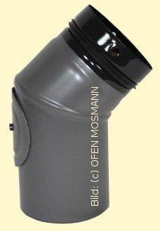 Ofenrohr für Pelletofen DN 80 mm Bogen 45 Grad mit Tür grau emailliert