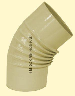 Ofenrohr DN 130 mm beige emailliert Bogen gerippt 45° ohne Tür hq