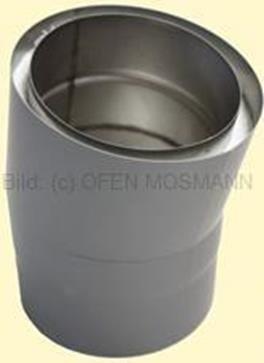 Doppelwandiges Ofenrohr Isoline DN 150 mm Bogen 15° ohne Tür gussgrau #288