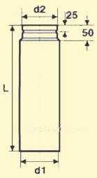 Pelletofenrohr Längenelement