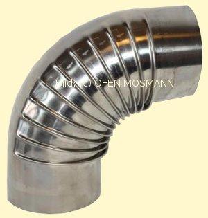Ofenrohr aus Edelstahl DN 130 mm Bogen 90° ohne Tür