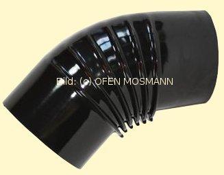 Ofenrohr DN 130 mm schwarz glänzend emailliert Bogen gerippt 45° ohne Tür hq