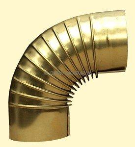Ofenrohr DN 120 mm aus Messing Bogen gerippt 90° ohne Tür
