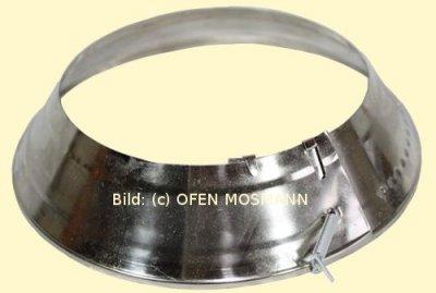 Ofenrohr Wandrosette mit Federzug verstellbar von DN 135 bis 165 mm, vernickelt
