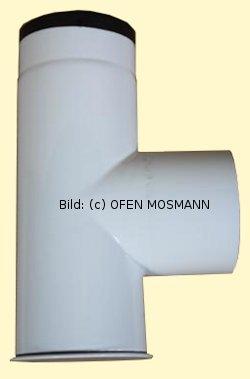 Ofenrohr DN 120 mm weiß emailliert Kapselknie 0,33 m Länge hq