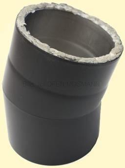 Doppelwandiges Ofenrohr Isoline DN 150 mm Bogen 15° ohne Tür schwarz #310