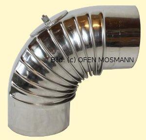 Ofenrohr aus Edelstahl DN 130 mm Bogen 90° mit Tür