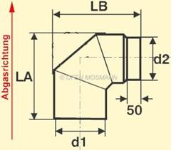 Maßskizze Ofenrohr-Bogen 90° ohne Tür