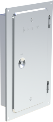 Kamintür aus Edelstahl V2A. Nennmaß 300 mm x 150 mm