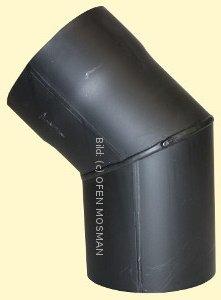 Ofenrohr DN 160 mm Bogen Knie 45° ohne Tür 2 mm Stahl gemufft schutzlackiert (nicht kratzerfrei)