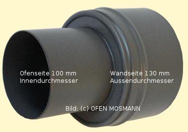 Ofenrohr für Pelletofen Erweiterung von DN 100 auf 130 mm grau emailliert