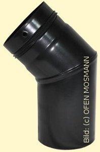 Ofenrohr für Pelletofen DN 125 mm Bogen 45 Grad ohne Tür mattschwarz emailliert