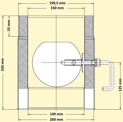Primus Ofenrohr mit Drosselklappe Maßskizze