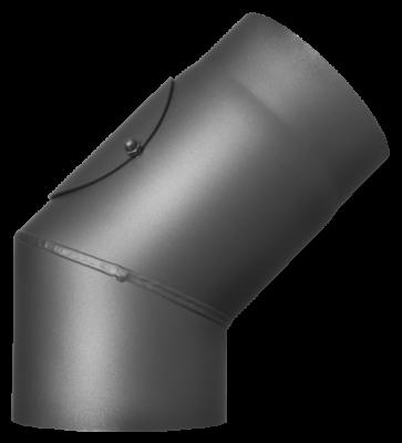 Ofenrohr Kaminofen DN 130 mm Bogen 45° mit Tür gussgrau #288