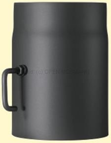 Doppelwandiges Ofenrohr Primus DN 180 mm Länge 0,25 m schwarz #310 mit Drosselklappe