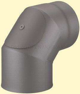 Doppelwandiges Ofenrohr Primus DN 130 mm Bogen 90° mit Tür gussgrau #288