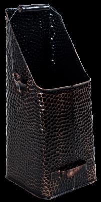 Kohleschütter schwarz-kuperfarben 20 x 14 x 41 cm gehämmert