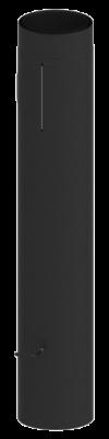 Doppelwandiges Ofenrohr Isoline DN 150 mm Länge 1,00 m mit Tür & Drosselklappe schwarz #310