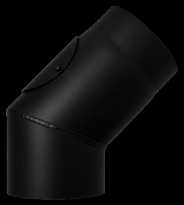 Ofenrohr Kaminofen DN 200 mm Bogen 45° mit Tür schwarz #310